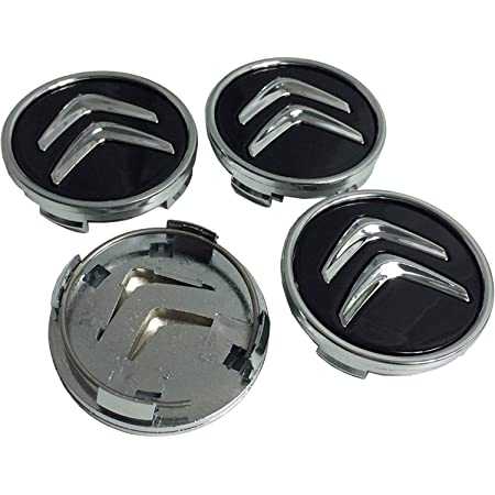 Lot de 4 cache-moyeux noirs compatibles avec Citroën C1, C3, C4, C5, C6, DS3, 60 mm, freins en alliage.
