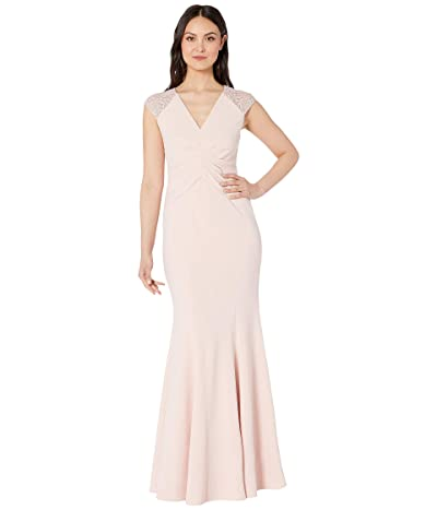 Vince Camuto V-Neck Gown with Details at the Sleeves (Blush) Women