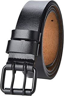 """Men Genuine Leather Belt 39""""-70"""" Waist Regular and Big & Tall Sizes Classic and Fashion Design with double Prong Buckle"""
