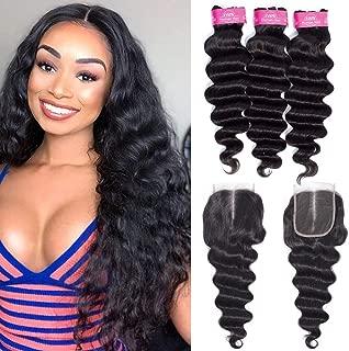 FQ Brazilian Loose Deep Wave Human Hair Bundles with Closure(16 18 20+closure 14)Middle Part Unprocessed 10A Virgin Human Hair Bundles and Closure Brazilian Loose Deep Curly Weave Bundles with Closure