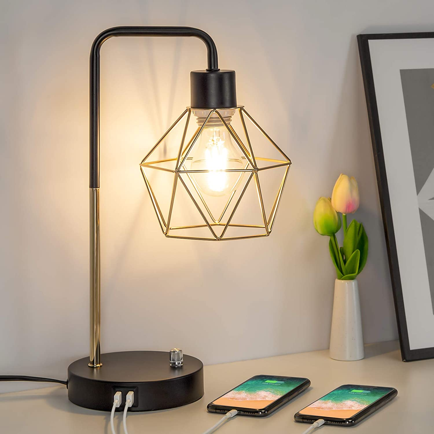 Dimmable USB Bedside Lamp Industrial C Table with 売れ筋 Dual セール