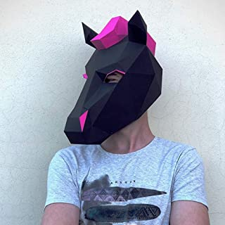 Paperraz 3D Horse Mask Animal DIY for Adults & Kids - NO Scissors Needed
