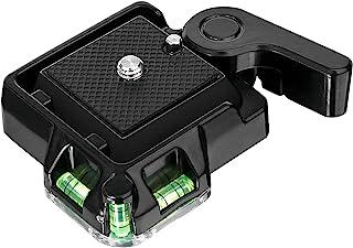 Konsait Schnellkupplung für Stativ Schnellkupplung QR 40 Schnellspanner Platte Klemm mit Platte Doppel Versicherungs Taste für Camcorder DSLR Kamera