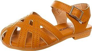 صندل للبنات الصغار مغلق الإصبع الصيف طفل صغير حزام أحذية مسطح
