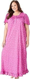 Dreams & Co. Women's Plus Size Long Floral Print Cotton Gown