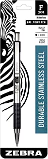 Zebra F-301 Ballpoint Stainless Steel Retractable Pen, Bold Point, 1.6mm, Black Ink, 1-Count