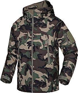 Men's Waterproof Softshell Lightweight Full Zip Outdoor Ski Military Fleece Jackets with Multi Pockets