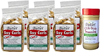 Butler Soy Curls, 8 oz bags - 6 Pack + Chik-Style Seasoning