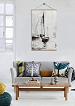 Framed Canvas Prints Wall Art Brown Sailing Boats, Seascape Hand Painted, Ships Wood Scroll Paintings for Living Room and Bedroom Wire Sling Installed Ready to Hang 32x48Inch