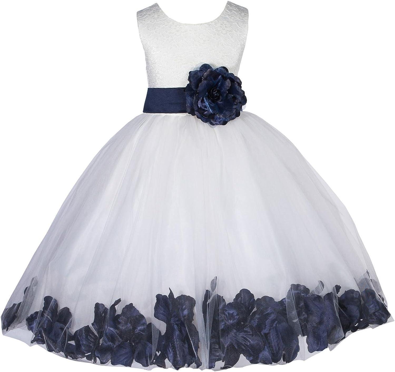 ekidsbridal Lace Floral Petals Ivory Flower Girl Dress Communion Dresses Baptism Dress Pageant Dress 165T