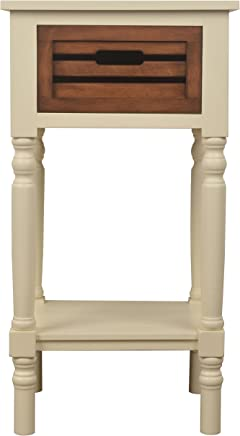 Décor Therapy Melody One Drawer Wood Side Table,  White Honeynut