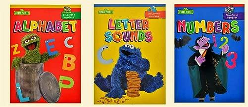 Sesame Street 1 2 3 Educational Workbooks, Alphabet, Numbers & Letter Sounds, 3-workbook Set