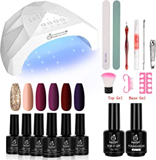 Beetles Full Maroon Gel Nail Polish Starter Kit with 48W UV/LED Light Nail Lamp Base Top Coat 3 Timer Setting, Soak Off Gel Polish Autumn Winter 6 Colors Manicure Tools Essentials Christmas Gift Set