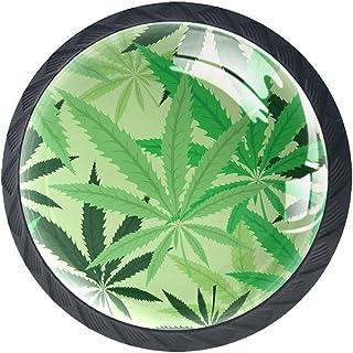 Tiroir Poignées Tirez pour la maison de cuisine commode garde-robe,Feuille de cannabis végétal