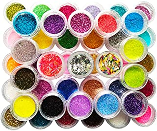 Happlee 48 Boxes Nail Art Glitter Powder Manicure Art Decoration for Nail DIY Eyeshadow Face Slime Making and Art Projects