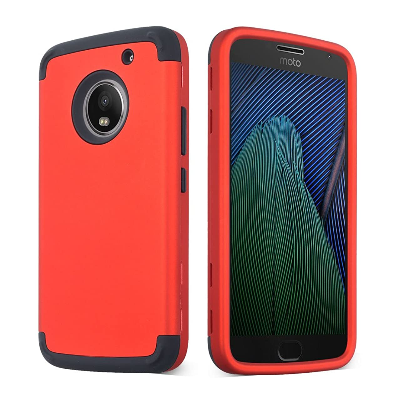 SOUNDMAE LG Aristo Case, LG K8 2017 Case, Heavy Duty PC and TPU Combo Protective Defender Body 3 In 1 Design Armor Shock Absorbing Slim Fit Cover Bumper for LG Fortune/MS210/Phoenix 3 - Red yiakkrtdczmxo771