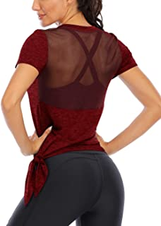 Fihapyli Women's Workout Tops Short Sleeve Mesh Back Side Tie Workout Tank Tops