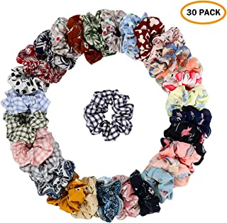 30 Pcs Chiffon Hair Bands Ponytail Ties Hair Scrunchies Flower Hair Scrunchies Girl Hair Accessory, Great for Casual and Party Dress