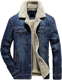WSPLYSPJY Men's Jeans Denim Jacket Fashion Vintage Fleece Lined Jean Jacket