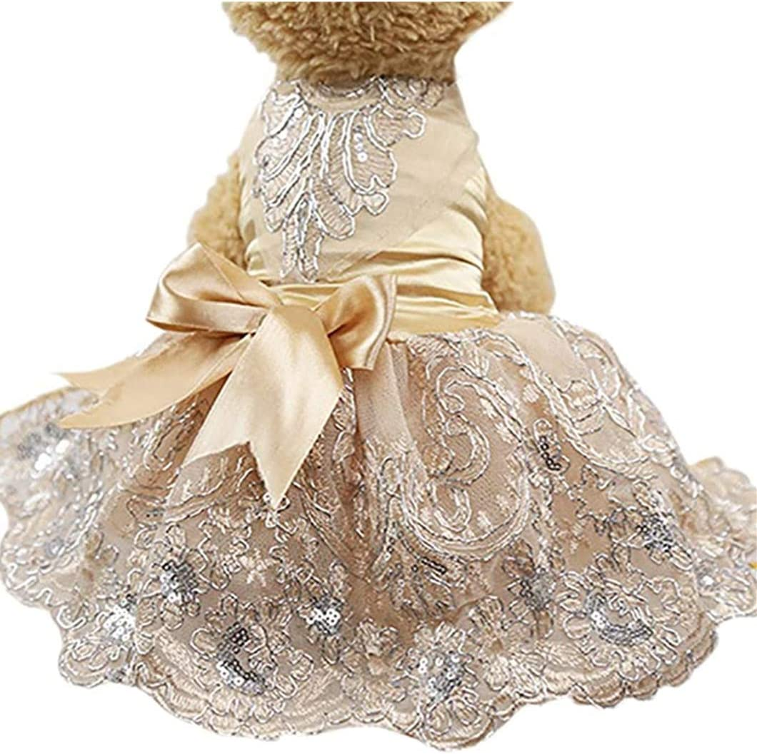 Kansas City Mall XiangYue SISAVE Pet Dress Princess Dresses Challenge the lowest price of Japan Wedding Puppy Do Lace
