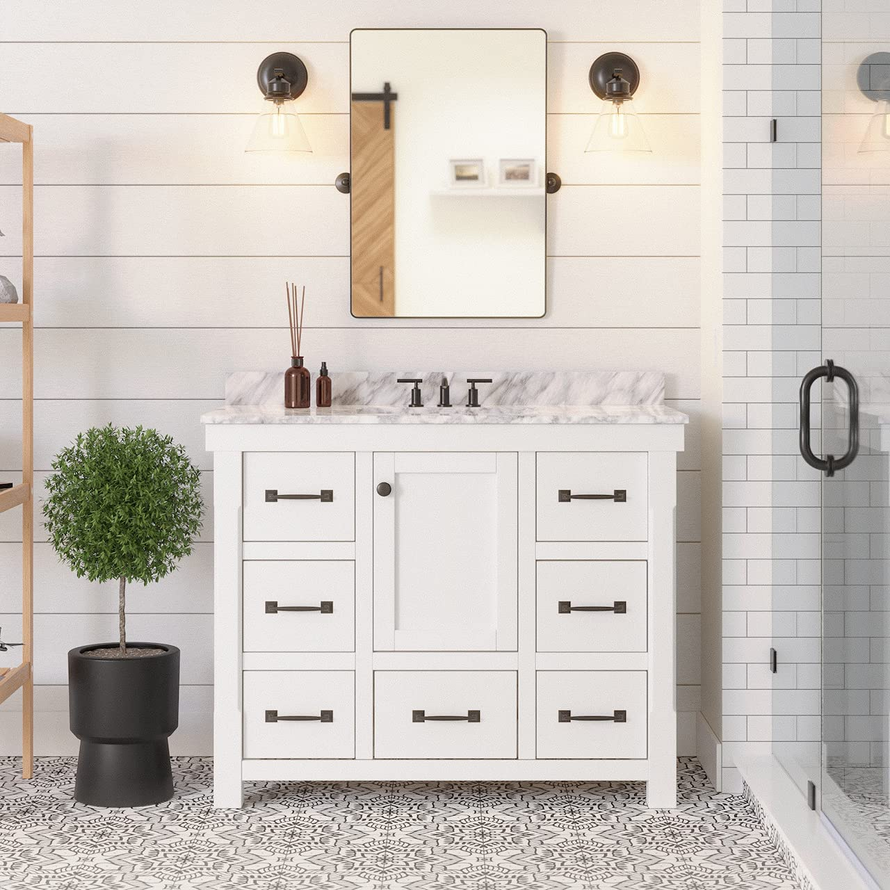 Tuscany 42 Inch Clearance Sale Limited Time Bathroom Vanity Carrara White Includes