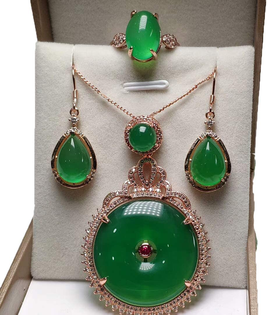 Gemstone Agate Green Chalcedony Necklace Three-Piece Suit Retro Pendant Ring Earring Jewelry Female