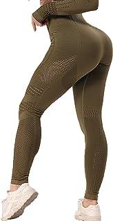 SEASUM Women's Yoga Workout Slimming Leggings Seamless Running Hollow High Waist Pants Butt Lifting