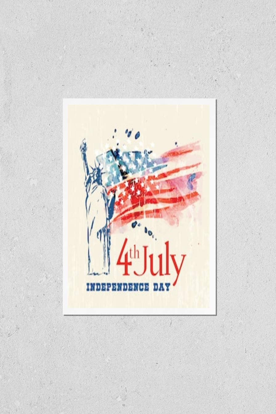 KwikMedia Poster Reproduction of Fashionable Greeting with Flag Max 90% OFF Card an U.S.