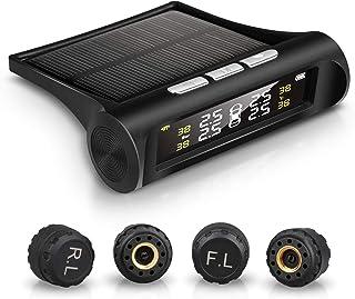 Echtzeitanzeigen des Reifendrucks und der Temperatur von 4 Reifen f/ür Solarstrom mit 4 externen Sensorsensoren WERSDF Drahtloses Reifendruck/überwachungssystem TPMS