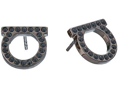 Salvatore Ferragamo Gancini Crystal Stud Earrings (Jet/Ruthenium) Earring
