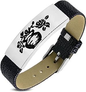 Stainless Steel Black Leather Belt Buckle Bracelet 3 Color Rose Flowers In A Vase Length: 8.8