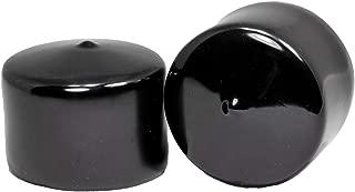 Prescott Plastics 2 1/4 Inch Round Black Vinyl End Cap, Flexible Pipe Post Rubber Cover (4)