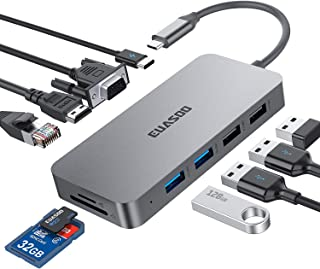 USB C Hub,Type C Hub,EUASOO 10 in 1 Adapter with 1Gbps Ethernet,4K USB C to HDMI,VGA,Power Delivery Charging Port,2 USB3.0,2 USB2.0,SD/TF Card Reader for MacBook Pro,Chromebook,Other Type C Laptops