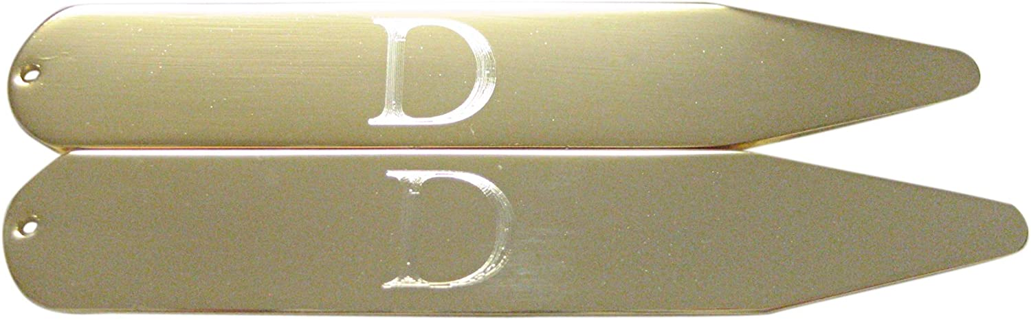 Gold Toned Etched Letter D Monogram Collar Stays