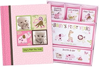 Baby Girl Memory Book Scrapbook Photo Picture Album with Storage Dividers Keepsake Box Baby's First Five Years Diary Journal Records Milestone Memories Precious Moments Pink Polka Dot Monkey Design