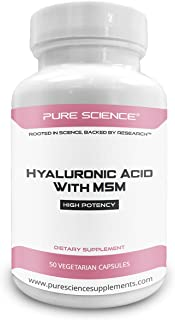 Pure Science Hyaluronic Acid and MSM 520mg - Hyaluronic Acid Supplements for Joint & Muscle Health, Skin Elasticity and Eye Health - 50 Vegetarian Capsules