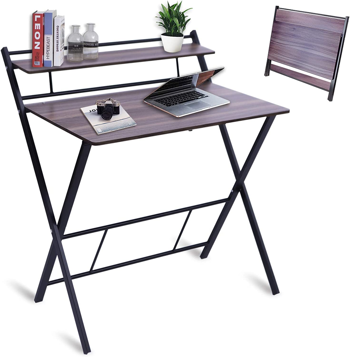 BLNDQMY Folding Desk for Small Space No Assembly Required, 2 Tiers Foldable Writing Computer Desks with Shelf Home Office Table, Student Study Table (Dark Wooden 31Inch)