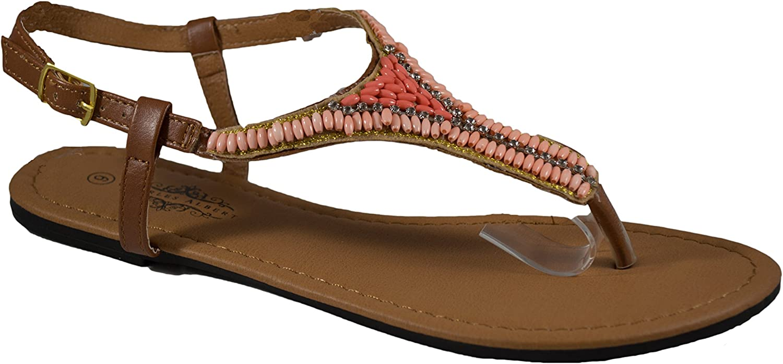 Charles Albert Women's Beaded Thong Sandal with Adjutable Ankle Strap