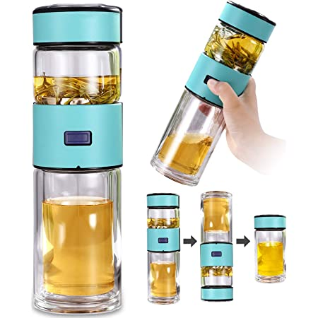 Glass Tea Bottle Portable Double Wall Stainless Steel Filter Cover Separation