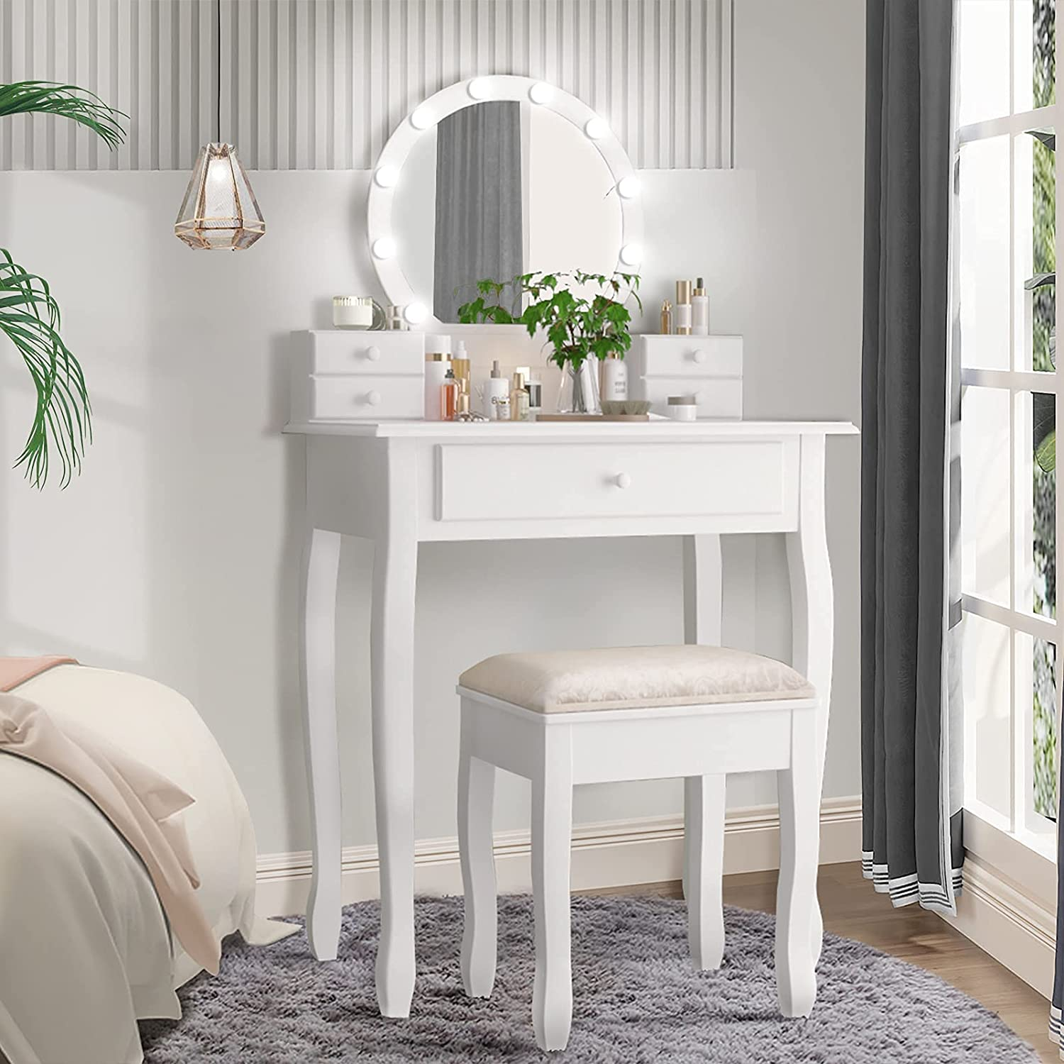 Drefure Vanity Table Set Makeup Table with Round Mirror, 3 Color LED Light Adjustable Brightness, Dressing Desk Bedroom Vanity Set with 5 Drawers and Cushioned Stool for Bedroom, White