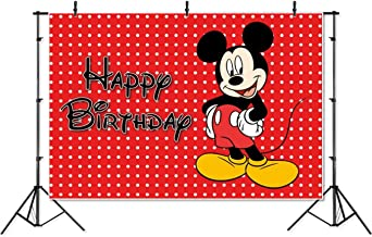 Photography Backdrop Disney 7x5 Red Background Black Mickey Mouse Happy Birthday Photographic Background Banner