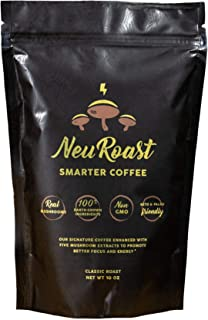 NeuRoast Classic - Mushroom Coffee Made With Lion's Mane, Cordyceps, Chaga, Reishi, and Turkey Tail - 100% Real Mushroom Extracts, No Mycelium Or Fillers. … (10 oz)