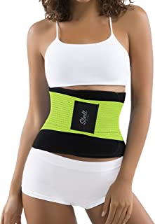 Thermal Waist Trainer Slimming Belt – Women's Slimming Body Shaper Trimmer for an Hourglass Shape (Green, Large/X-Large)