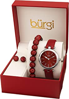 Burgi Ladies Watch Gift Set - Glitter Marker Watch with Leather Strap, Crystal Beaded Bracelet and Matching Crystal Earrings - Mother's Day Gift - BUR241
