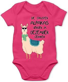 Shirtracer Geburtstag Baby - Die coolsten Alpakas Werden im Dezember geboren Sonnenbrille - Baby Body Kurzarm für Jungen und Mädchen
