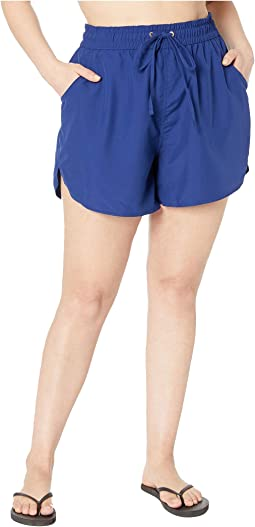 Plus Size Solids Board Swim Shorts