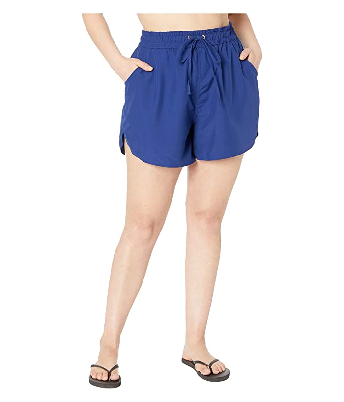 24th & Ocean Plus Size Solids Board Swim Shorts (Navy) Women
