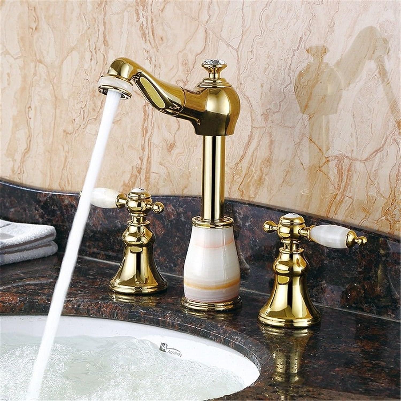 Gyps Faucet Waschtisch-Einhebelmischer Waschtischarmatur BadarmaturDie Jade, 3-tlg, Draw-Down Waschbecken Wasserhahn Goldene Becken von Warmen und Kalten Badewanne mit Dreifach Lift Weier Jade +