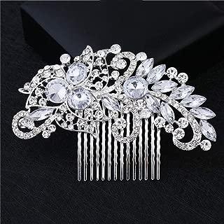 MOPOLIS Silver Rhinestone Flower Pearls Hair Clip Pins Comb Bride Wedding Party Fashion | Color - 7#