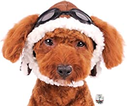 Charmed Aviator Pilot Hat with Faux Goggles for Dogs in Sizes XS Thru XL